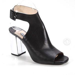 Prada black Mules 37.5, 7.5 Silver heels Amazing